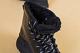 Ботинки женские кожаные черные на черной подошве, зимние, фото 5