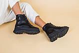Ботинки женские кожаные черные на черной подошве, зимние, фото 8
