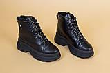 Ботинки женские кожаные черные на черной подошве, зимние, фото 10