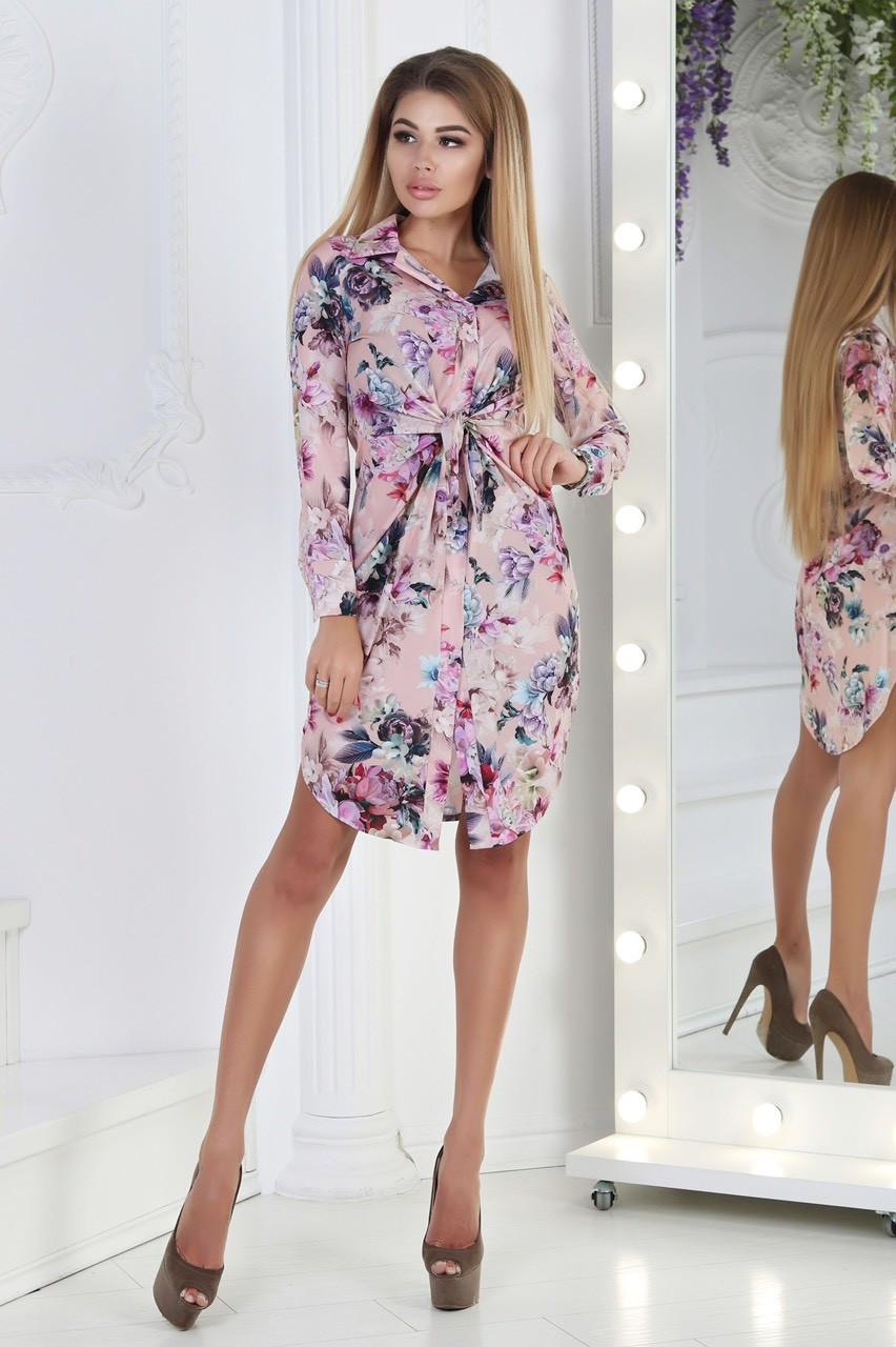 Весняне квіткове плаття з довгим рукавом 42-46 (в кольорах)
