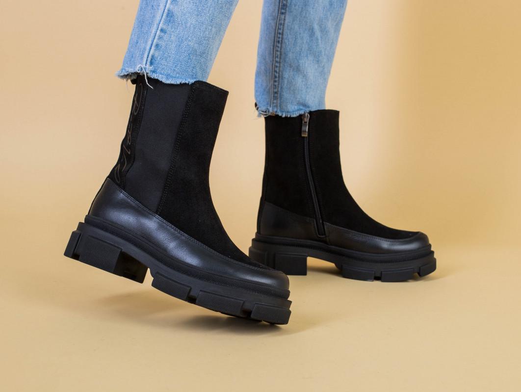 Ботинки женские замшевые черные с кожаной вставкой, зима