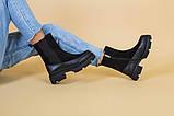 Ботинки женские замшевые черные с кожаной вставкой, зима, фото 8