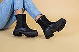 Ботинки женские замшевые черные с кожаной вставкой, зима, фото 9