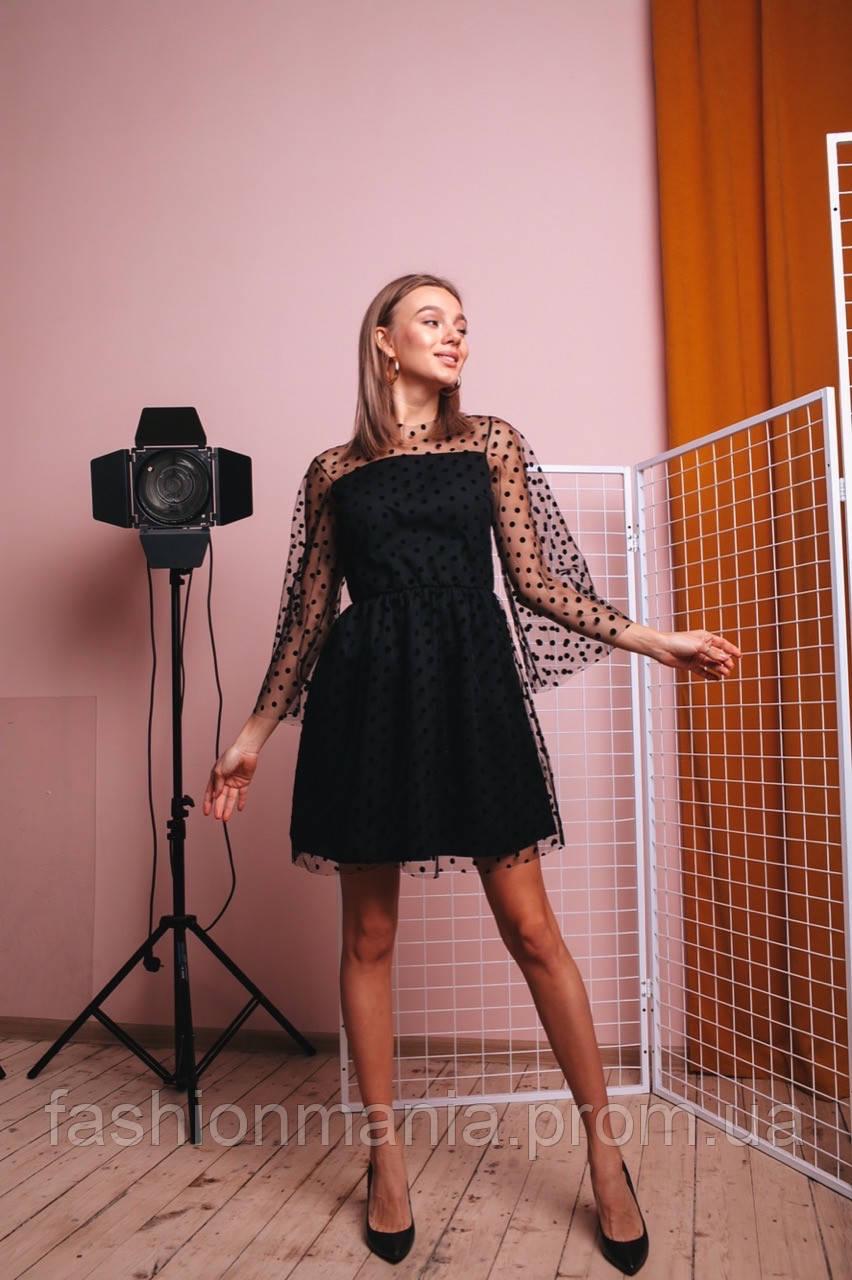 Платье женское сетка горох чёрное 42-44,46-48