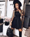 Платье женское сетка горох чёрное 42-44,46-48, фото 2