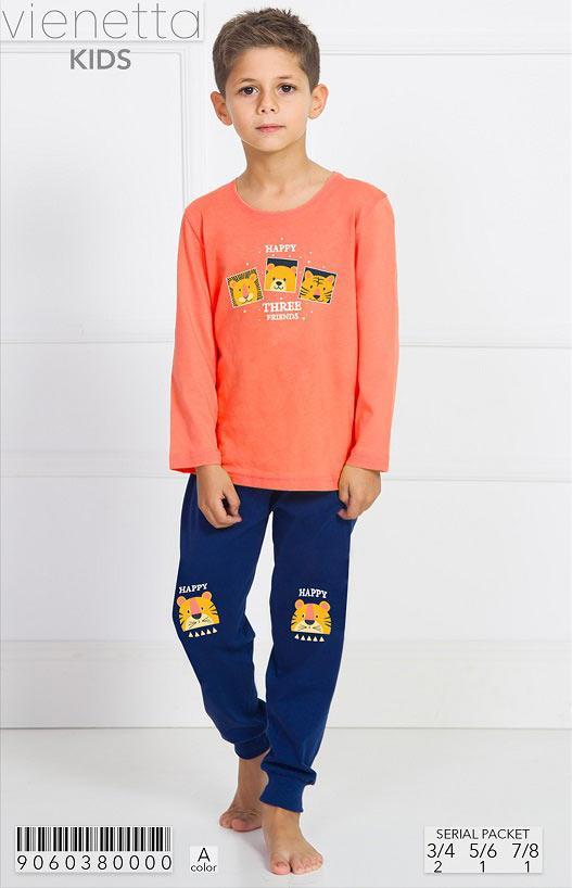 Трикотажная пижама с принтом трех друзей мальчикам 3-8 лет
