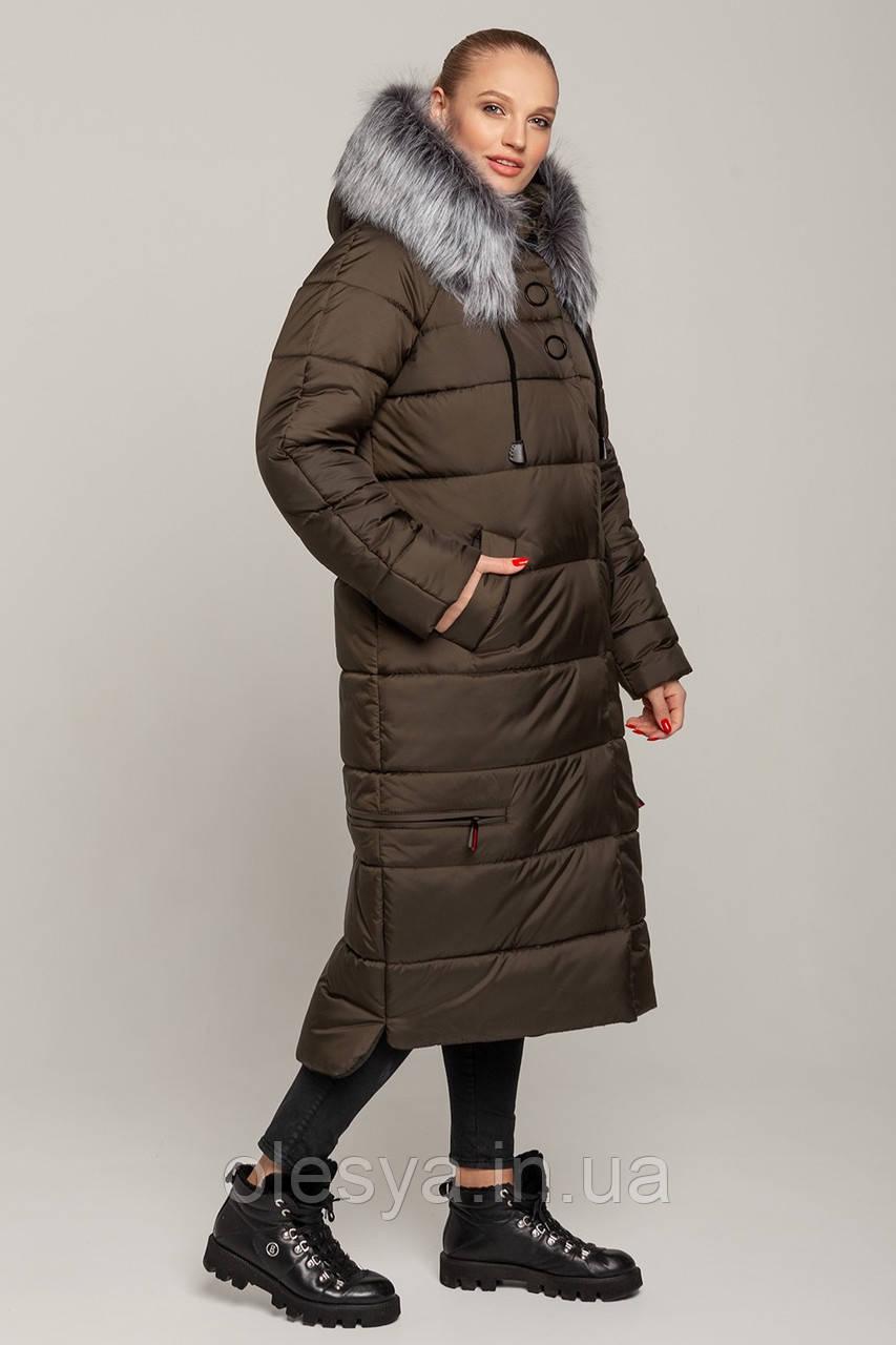 Зимнее женское пальто Барбара размеры 48- 58 цвет хаки