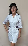 Женский медицинский халат Хлястик коттон три четверти рукав, фото 1