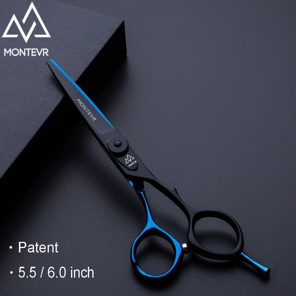 5.5 дюймов парикмахерские ножницы для стрижки волос черный + синий Япония 440C 6cr13 MONTEVR JA1-55B