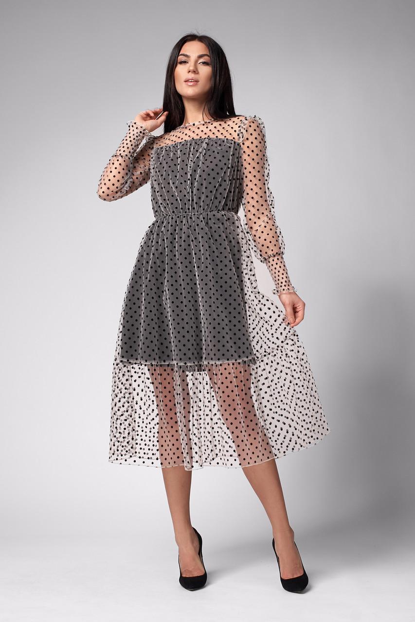 Платье с юбкой клеш бежевое