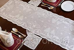 Скатерть дорожка Рождественская MYB хлопковая Madras 40х150см серебряная 10200С-1