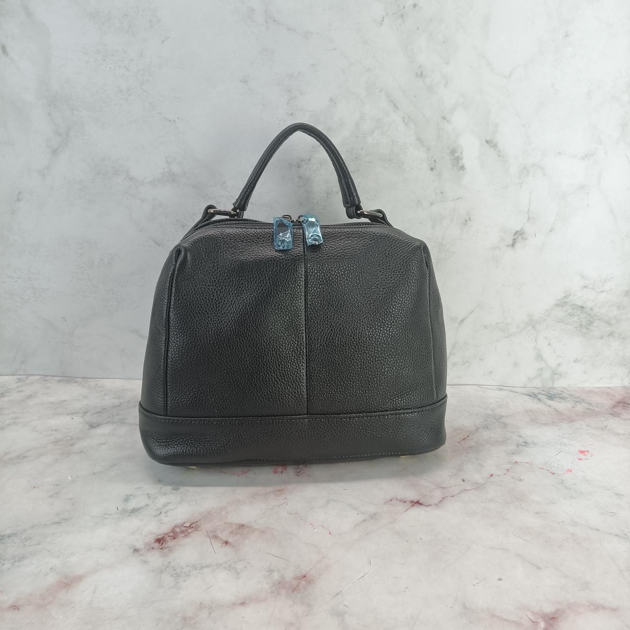 Сумка чемоданчик с ручкой / натуральная кожа (256-2) Черный