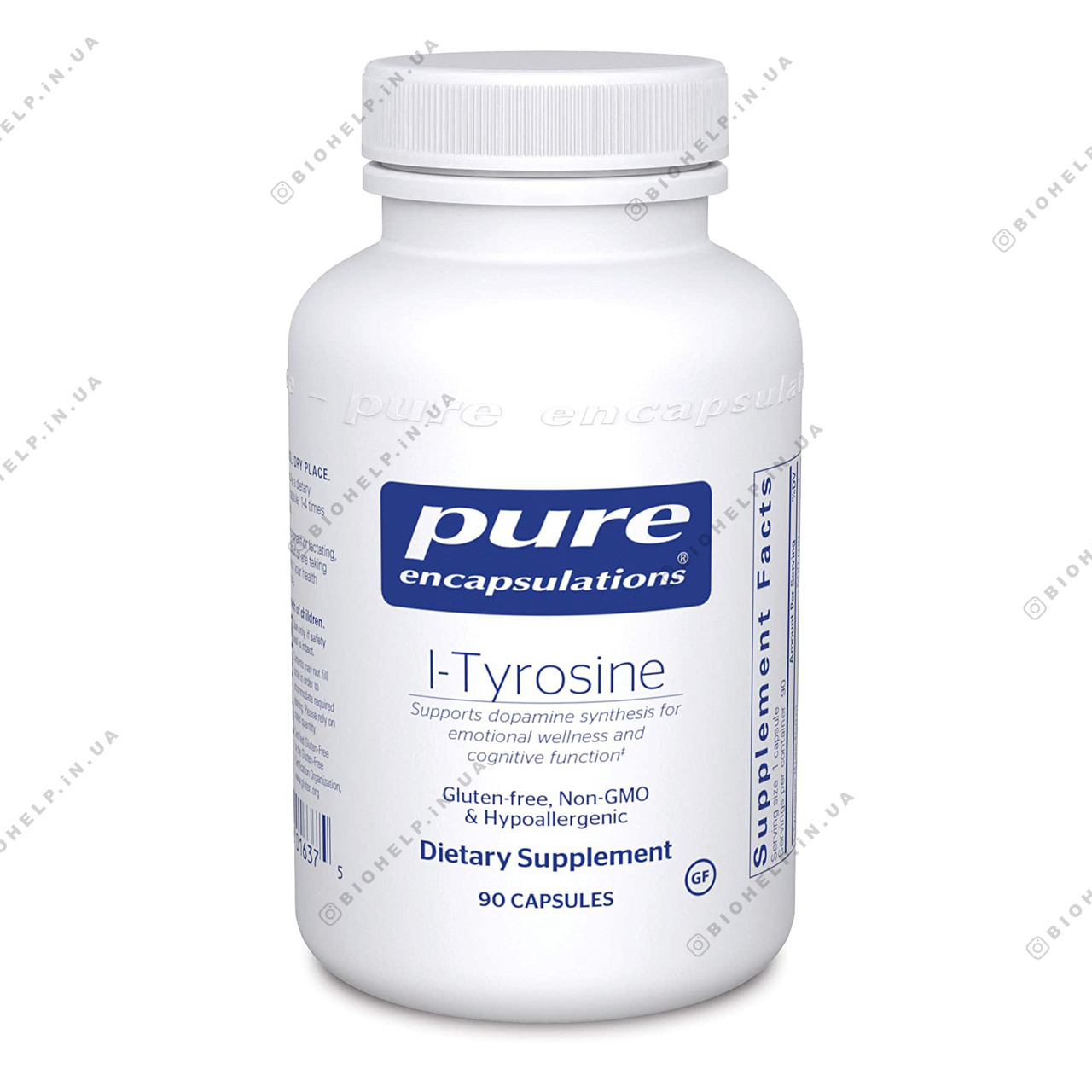 L-тирозин, l-Tyrosine, Pure Encapsulations, 90 капсул