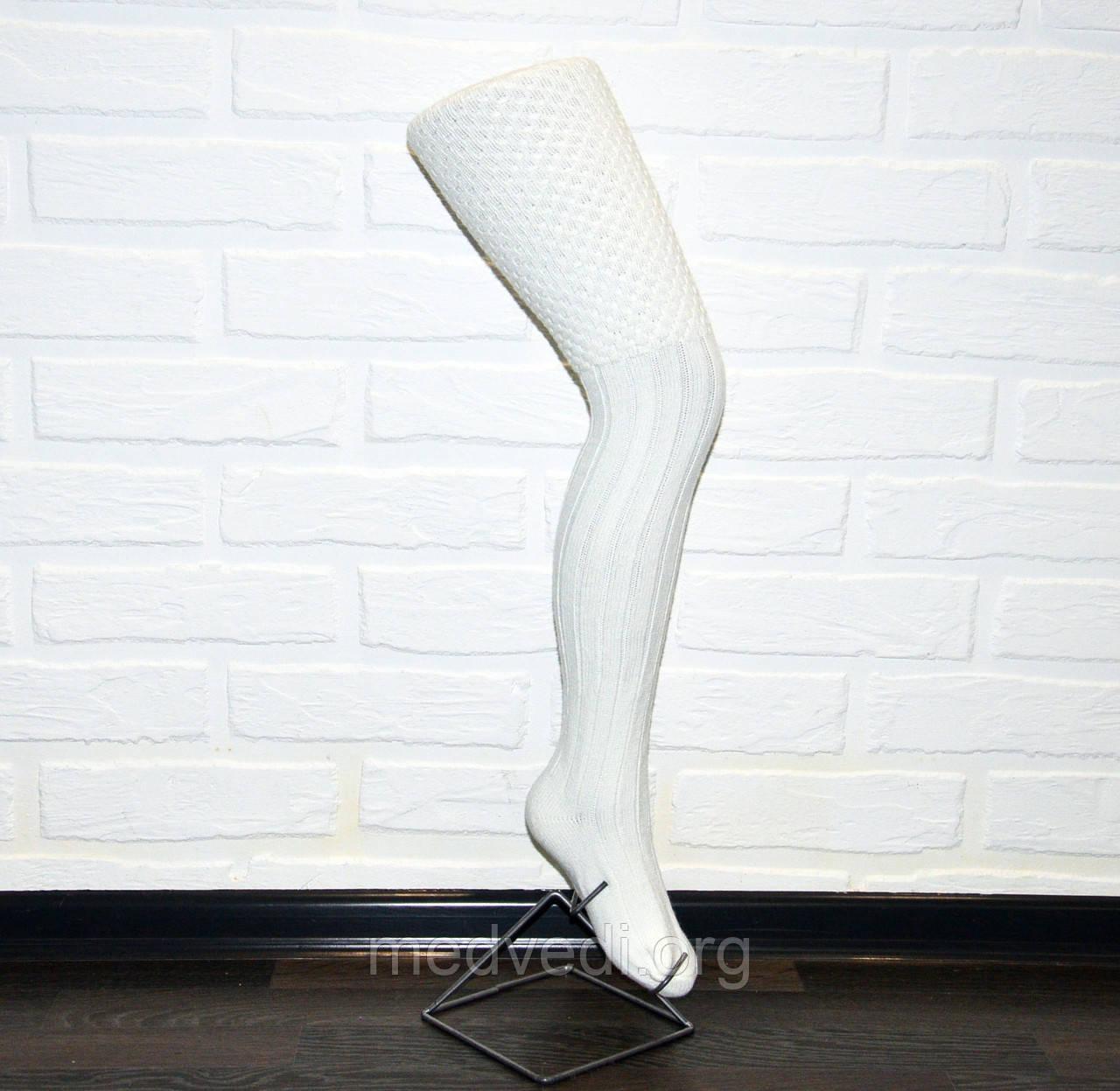 Бело-молочные женские гольфы, высокие, выше колена, 70см