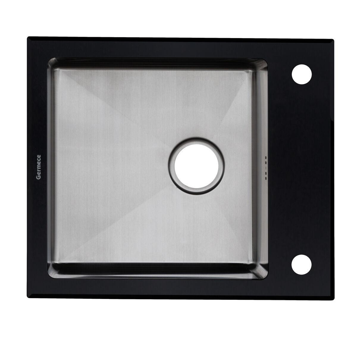 Кухонная мойка Germece Handmade BLACK GLASS 6051/200 сталь/стекло черная 60х51