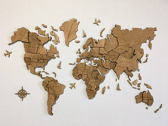 Карта мира на стену многослойная из дерева