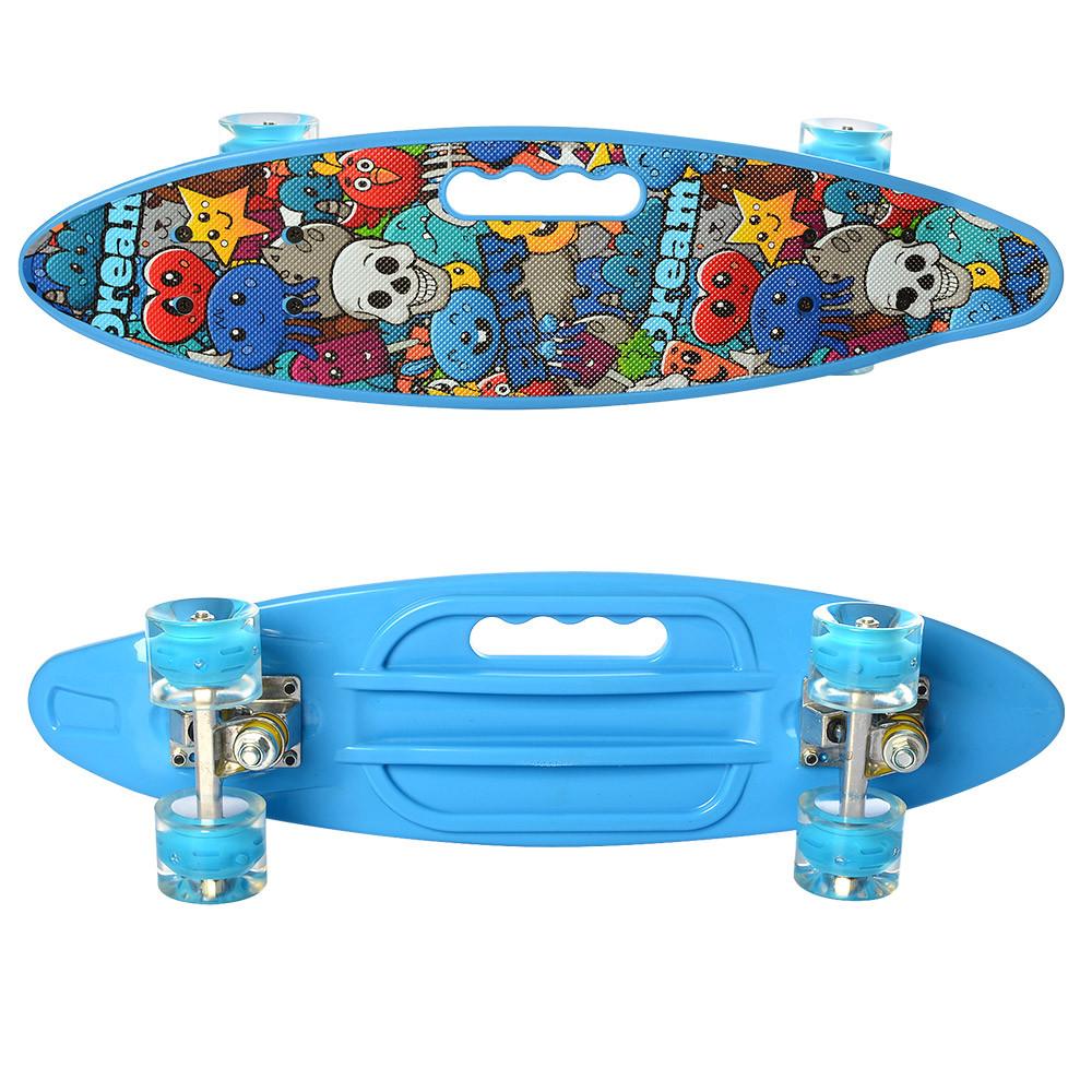 Скейт (пенни борд) Penny board (колеса светятся) ГОЛУБОЙ арт. 0461-2