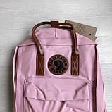 Женский рюкзак канкен Fjallraven Kanken classic №2 светло-розовый пудра с коричневыми ручками 16 л., фото 5
