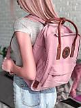 Женский рюкзак канкен Fjallraven Kanken classic №2 светло-розовый пудра с коричневыми ручками 16 л., фото 8