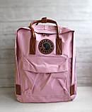 Женский рюкзак канкен Fjallraven Kanken classic №2 светло-розовый пудра с коричневыми ручками 16 л., фото 2