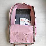 Женский рюкзак канкен Fjallraven Kanken classic №2 светло-розовый пудра с коричневыми ручками 16 л., фото 6