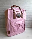 Женский рюкзак канкен Fjallraven Kanken classic №2 светло-розовый пудра с коричневыми ручками 16 л., фото 3