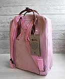 Женский рюкзак канкен Fjallraven Kanken classic №2 светло-розовый пудра с коричневыми ручками 16 л., фото 4
