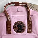 Женский рюкзак канкен Fjallraven Kanken classic №2 светло-розовый пудра с коричневыми ручками 16 л., фото 9