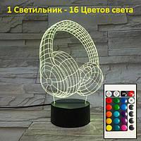 1 Светильник -16 цветов света! Настольные лампы для спальни, Наушники, пульт управления. 3D Led Светильники