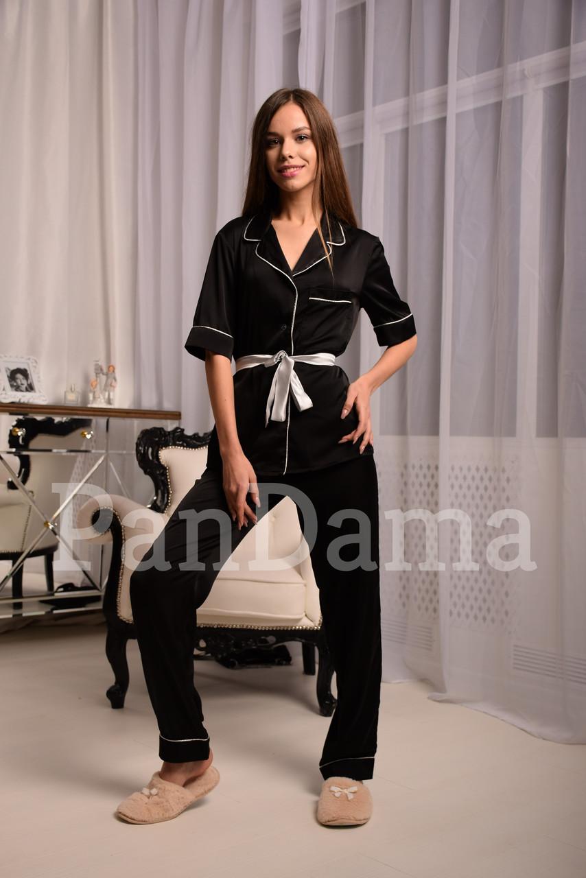 Классическая шёлковая пижама в чёрном цвете