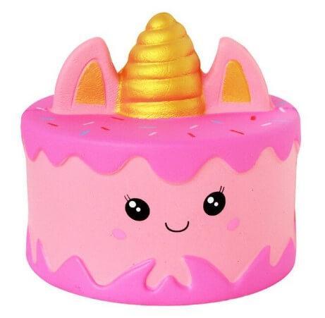 Сквиш торт Единорог розового цвета