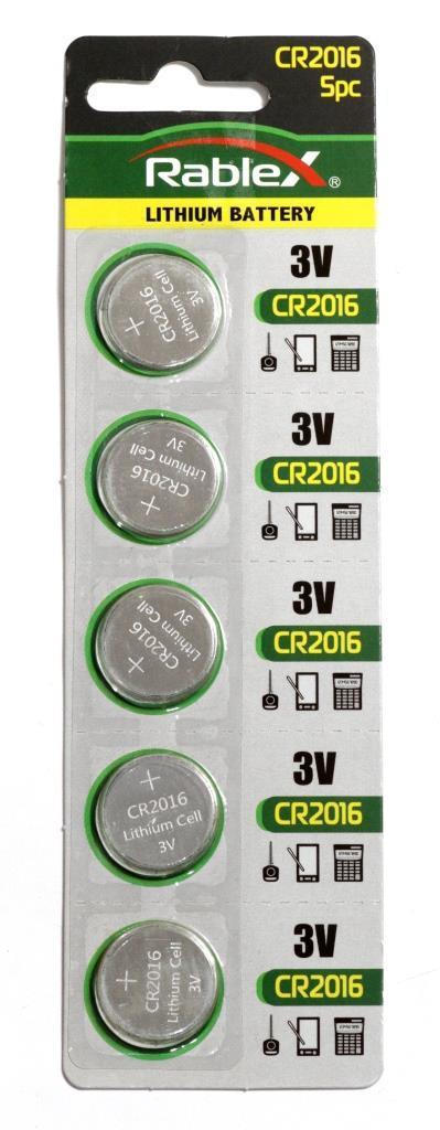 Батарейка литиевая Rablex CR2016 Упаковка 5 шт