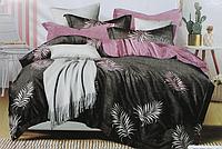Двоспальне постільна білизна з простирадлом на резинці пальма