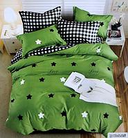 Двоспальне постільна білизна з простирадлом на резинці зірочки