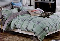 Двоспальне постільна білизна з простирадлом на резинці м'ятна