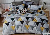 Двоспальне постільна білизна з простирадлом на резинці абстракція