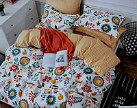 Двоспальне постільна білизна з простирадлом на резинці квіточки