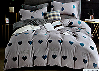 Двоспальне постільна білизна з простирадлом на резинці сердечко