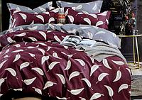 Двоспальне постільна білизна з простирадлом на резинці листя