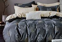 Двоспальне постільна білизна з простирадлом на резинці сіре