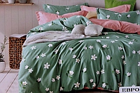 Двоспальне постільна білизна з простирадлом на резинці ромашки