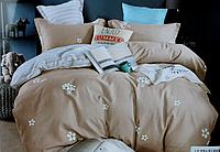 Двоспальне постільна білизна з простирадлом на резинці беж