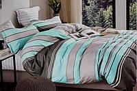 Двоспальне постільна білизна з простирадлом на резинці смарагд