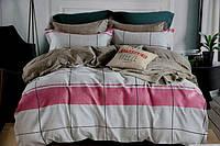 Двоспальне постільна білизна з простирадлом на резинці сіро-рожеве