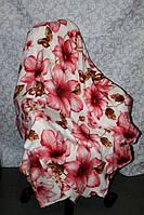Махровое двуспальное покрывало розовые цветы