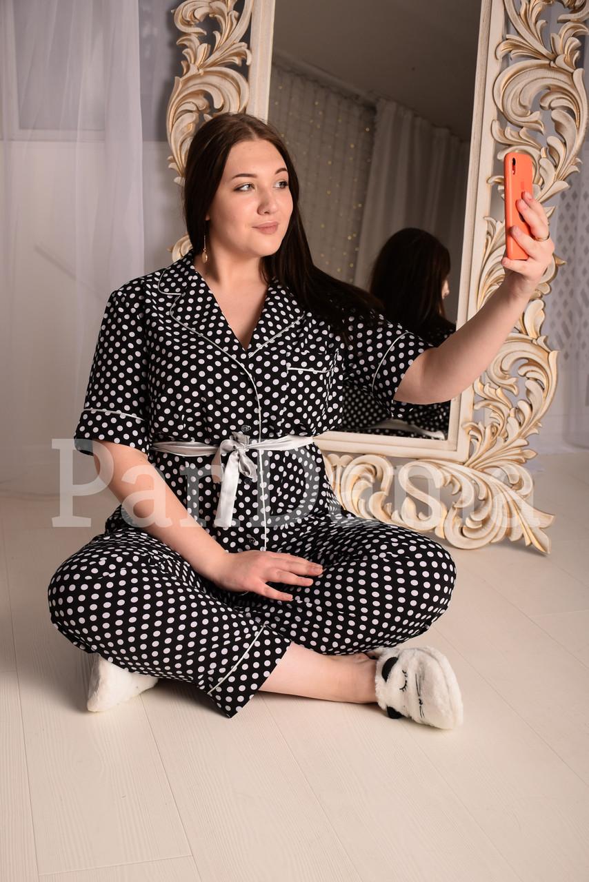 Женская пижама чёрная в белый горошек, отXL до 5 XL