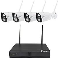 Комплект видеонаблюдения беспроводной DVR KIT CAD Full HD UKC 8004/6673 WiFi на 4 камеры (4299), фото 1