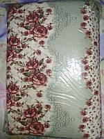 Двуспальное постельное белье жатка с цветами