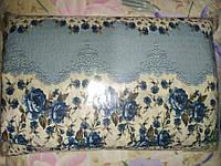 Постельное белье Евро размера жатка синие цветочки