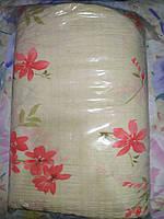 Постельное белье Евро размера жатка цветочки розовые